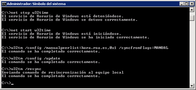 Configuración NTP Windows